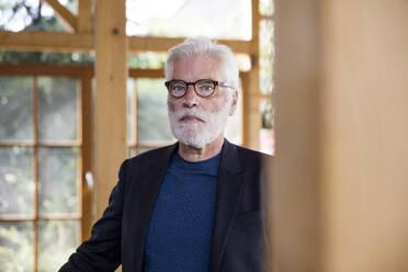 Portrait of bearded senior man with white hair - JOSEF00268