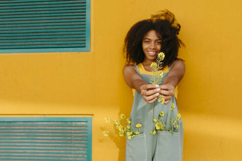 Portrait of happy young woman wearing overalls holding flowers in front of yellow wall - TCEF00494