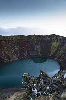 Iceland, Lake inside volcanic crater - DAMF00358