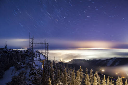 Star trails and light pollution from Squaw Mountain, Colorado - CAVF79337