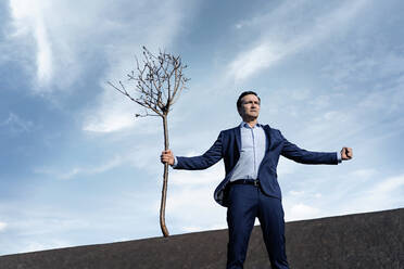 Mature businessman holding a bare tree on a disused mine tip - JOSEF00401