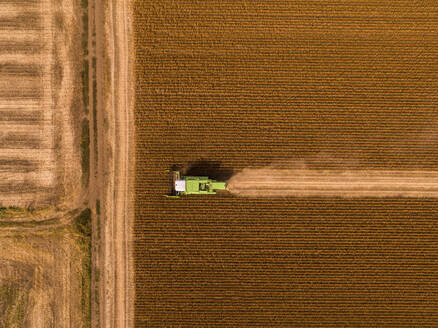 Aerial view of combine harvester on a field of soybean - NOF00083