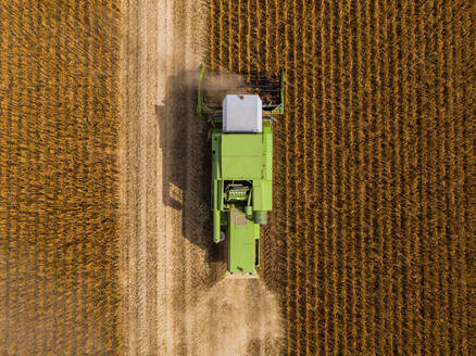 Aerial view of combine harvester on a field of soybean - NOF00086