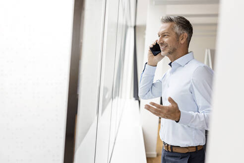 Mature businessman talking on the phone at the window in office - PESF02003