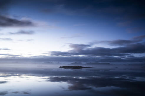 Idyllic view of seascape against dramatic sky in Iceland - DAMF00429