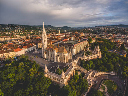Aerial view of Matthias Church during the sunset, Budapest, Hungary. - AAEF08263