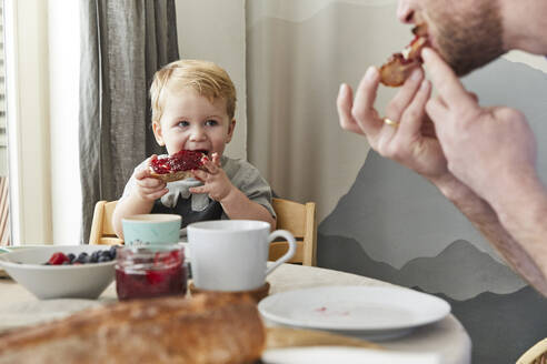 Portrait of little boy eating bread with jam watching his father - FSF01048
