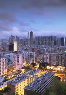 Skyline of Kowloon at dusk, Shek Kip Mei, Hong Kong, China, Asia - RHPLF14566