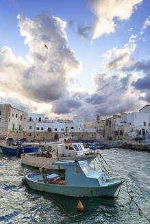 Cloudy sunset in the port of Monopoli, Apulia, Italy, Europe - RHPLF14620