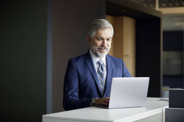 Mature businessman using laptop in office - RBF07655