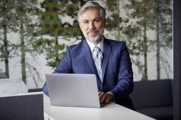 Portrait of mature businessman using laptop in office - RBF07661