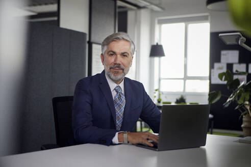 Portrait of mature businessman using laptop in office - RBF07667