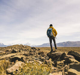 Hiker in remote landscape in Patagonia, Argentina - UUF20293