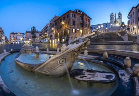 Panoramic of Piazza di Spagna (Spanish Steps), Barcaccia fountain and Trinita dei Monti, Rome, Lazio, Italy, Europe - RHPLF15037