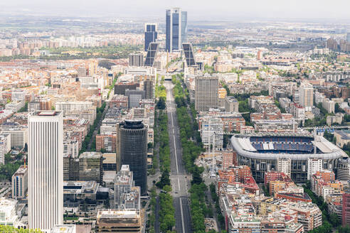 Spain, Madrid, Helicopter view of empty city downtown during COVID-19 outbreak - JCMF00689