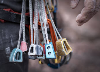 Close up of different rock climbing equipment - ALRF01751