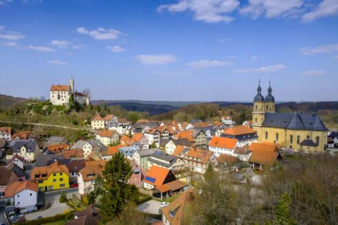 Germany, Bavaria, Gossweinstein, Houses surrounding Pilgrimage Church of Holy Trinity - LBF03065