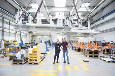 Two men with indoor crane in a factory - DIGF10609