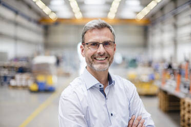 Portrait of a happy mature businessman in a factory - DIGF10639