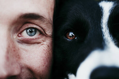 Close-up portrait of a man with his dog - EBBF00052