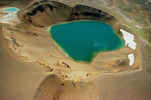 Aerial view of the volcanic crater Viti in north Iceland - CAVF81252