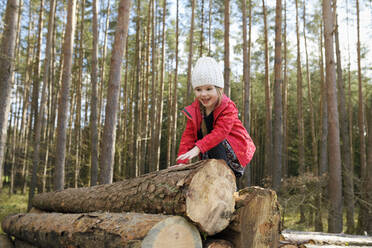 Portrait of happy little girl climbing on stack of wood in the forest - BRF01459
