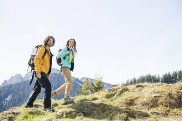 Hiking couple, Wallberg, Bavaria, Germany - DIGF11655
