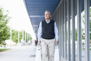 Portrait of senior man with shopping bags - DIGF12080