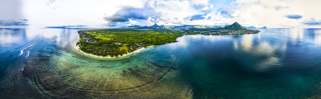 Mauritius, Black River, Flic-en-Flac, Helicopter panorama of oceanside village in summer - AMF08126