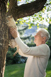 Senior with cat climbing on a tree in garden - AFVF06402