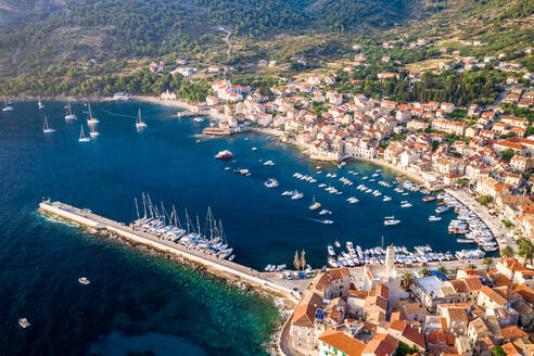 Aerial view of yachts on the shore of the bay in Komiza, Croatia - AAEF08807