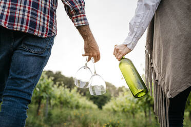 Spain, Barcelona, Penedes. Young couple of farmers strolling and enjoying their vineyards in the afternoon - JRFF04479