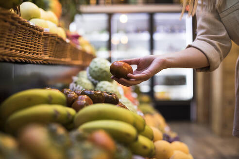 Cropped image of woman buying tomatoes at grocery store - ABZF03171