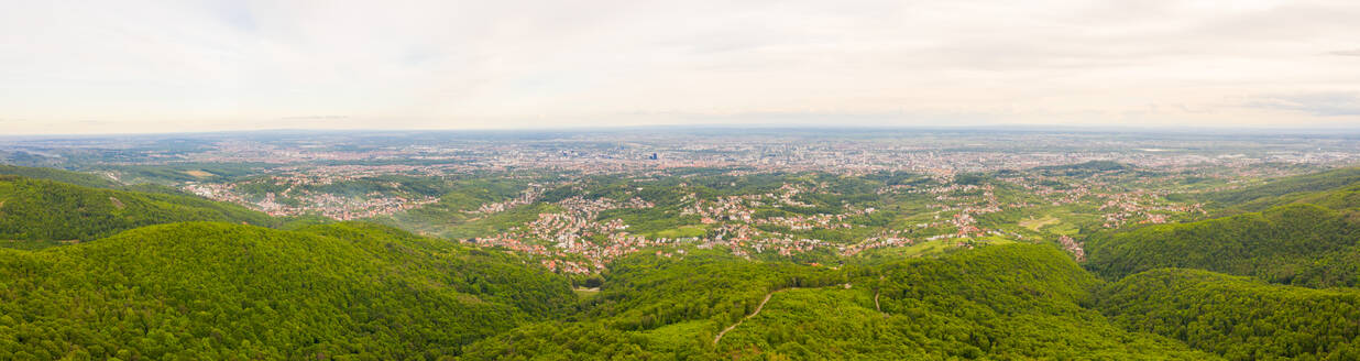 Panoramic aerial view of Zagreb cityscape from Medvednica mountain, Croatia. - AAEF08990