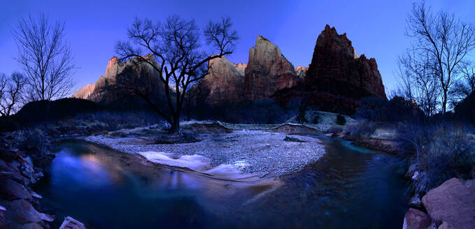 Virgin River flowing through Court of the Patriarchs, Zion National Park, Utah, United States of America, North America - RHPLF15341
