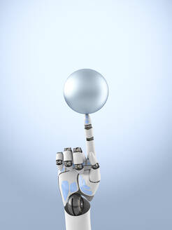 Three dimensional render of robotic arm balancing sphere on top of finger - AHUF00620