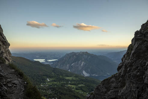 Idyllic view of mountain ranges against sky at dusk, Orobie, Lecco, Italy - MCVF00458