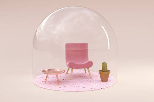 3D rendering, Miniature chair and table under bell jar - ECF01969