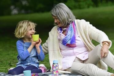 Happy grandmother enjoying picnic with grandchildren at park - ECPF00962
