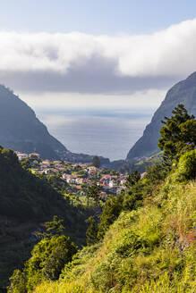 Portugal, Insel Madeira, Nordküste, Sao Vicente, Blick auf die Stadt, Häuser, Nebel - WDF06080