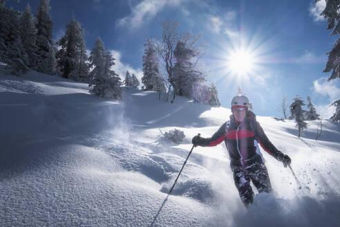 Senior man during ski tour, Inzell, Kienberg, Germany - HAMF00652