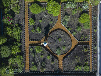 Aerial view of female worker at garden, Tikhvin, Russia - KNTF04741
