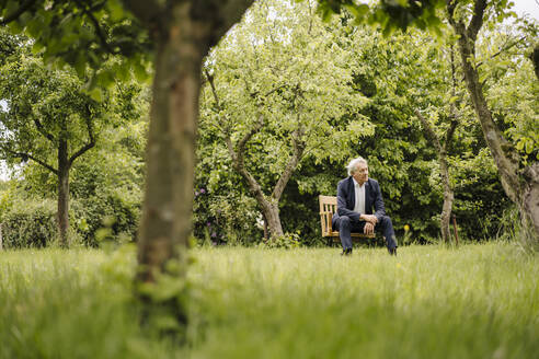 Senior businessman sitting on a chair in a rural garden - GUSF04146