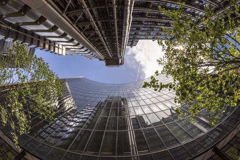 UK, London, Modern skyscrapers on a sunny day, worm's eye view - WPEF03157