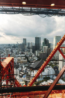 Japan, Tokyo, Downtown skyscrapers seen from Tokyo Tower - EHF00461