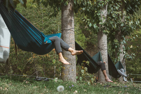 Friends relaxing in hammocks tied to the trees of a campsite on a sunny day. - CAVF86907