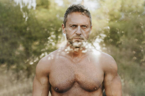Shirtless handsome man against trees in forest seen through glass - MIMFF00092