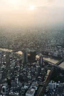 Japan, Tokyo, View from Tokyo Skytree at sunset - EHF00654