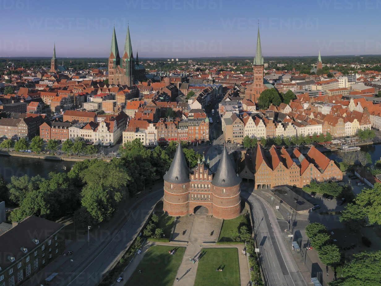 Germany Schleswig Holstein Lubeck Aerial View Of Holsten Gate At Dusk Hamf00691 Hans Mitterer Westend61