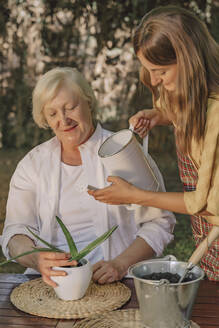 Daughter watering potted plant held by mother on table in yard - ERRF04155